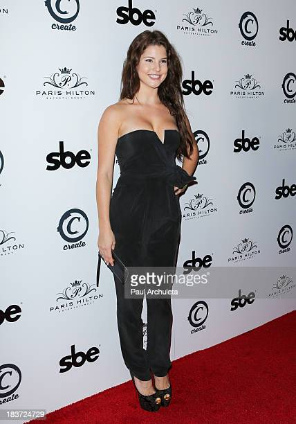 "Playboy Playmate Amanda Cerny arrives for the release party for Paris Hilton's new single ""Good Time"" featuring Lil Wayne at on October 8, 2013 in..."