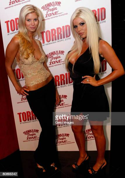 Playboy Playmate Amanda Paige and Model Brooke Banx arrive at Hawaiian Tropic Zone's Torrid Nightclub inside the Planet Hollywood Resort Casino April...