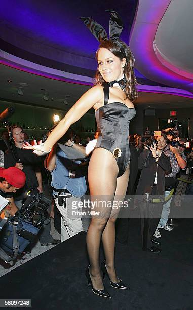Playboy Playmate Cara Zavaleta wears a Roberto Cavallidesigned Playboy Bunny costume during a fashion show to introduce the new costumes during a...
