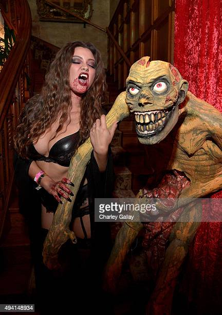 Playboy Playmate Chelsie Aryn attends the annual Halloween Party hosted by Playboy and Hugh Hefner at the Playboy Mansion on October 24 2015 in Los...