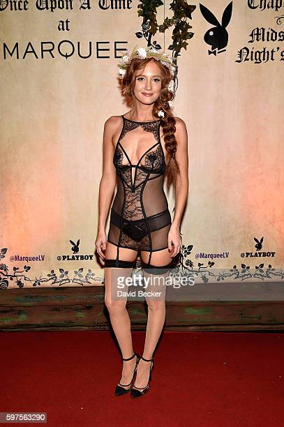 Playboy Playmate Dominique Jane attends the Playboy Midsummer Night's Dream party at the Marquee Nightclub at The Cosmopolitan of Las Vegas on August...