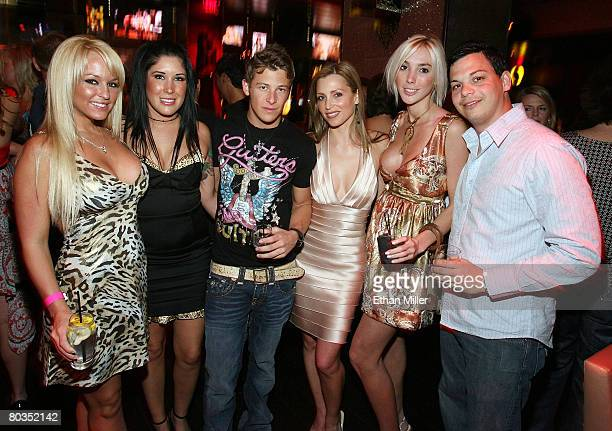Playboy Playmate Heather Rene Smith Amanda Flores IRL driver Marco Andretti Playboy Playmate Deanna Brooks Eva Korb and Joey Barone attend Andretti's...