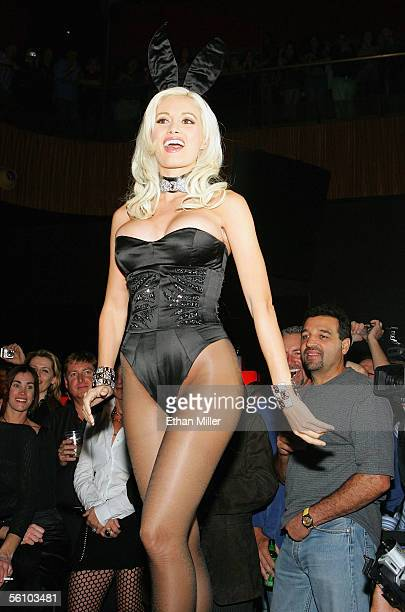 Playboy Playmate Holly Madison wears a Roberto Cavallidesigned Playboy Bunny costume during a fashion show to introduce the new costumes during a...