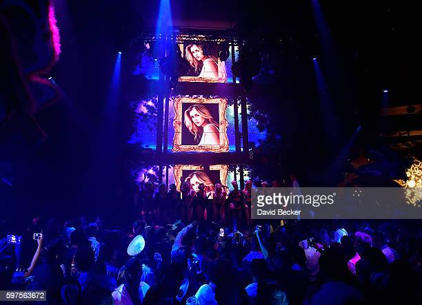 Playboy Playmate Kayla Rae Reid appears onstage during the Playboy Midsummer Night's Dream party at the Marquee Nightclub at The Cosmopolitan of Las...