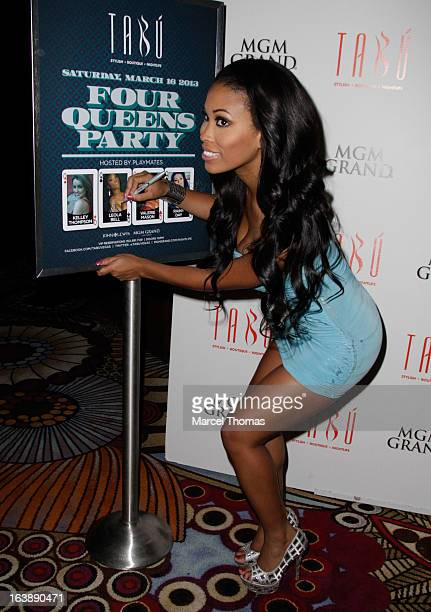 Playboy Playmate Leola Bell hosts a St Patrick's Day party at the Tabu Ultra Lounge at the MGM Grand Hotel/Casino on March 16 2013 in Las Vegas Nevada