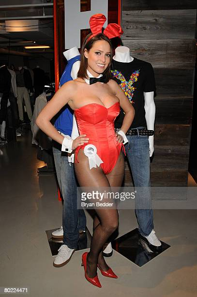 Playboy Playmate Lindsey Vuolo attends the Launch of Rock The Rabbit TShirt collection at Bloomingdale's No 59 Metro on March 12 2008 in New York City
