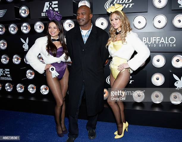 Playboy Playmate Miss August 2004 Pilar Lastra professional boxer Evander Holyfield and Playboy Playmate Miss September 2011 Tiffany Toth attend...
