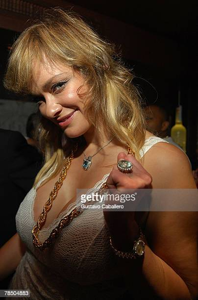 Playboy Playmate Natalia Sokolova poses at Jamie Foxx's 40th birthday hosted by Belvedere Vodka at The Florida Room at the Delano Hotel on December...