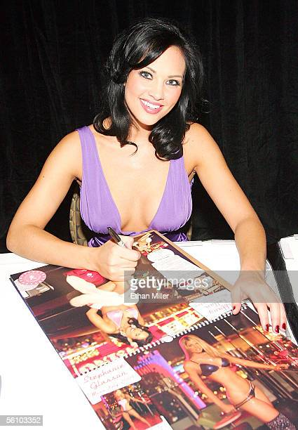Playboy Playmate of the Year 2005 Tiffany Fallon looks up from signing her photo in Playboy's 2006 'Playmates in Las Vegas' calendar at the fourth...