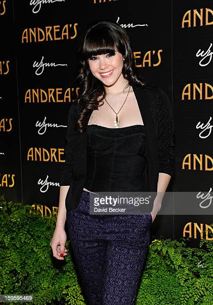 Playboy Playmate of the Year Claire Sinclair arrives for the grand opening celebration at Andrea's at the Wynn Las Vegas on January 16 2013 in Las...