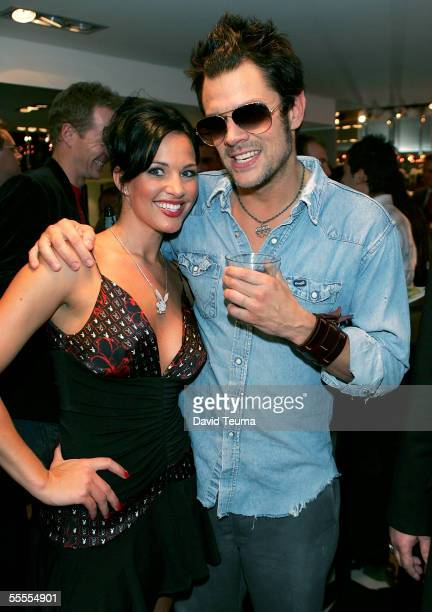 Playboy Playmate of the Year Tiffany Fallon and Johnny Knoxville attend the opening of the Playboy Concept Store on September 15 2005 in Melbourne...