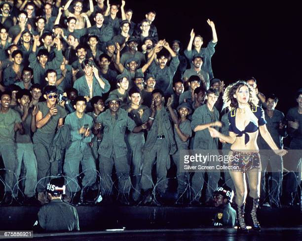 A Playboy Playmate performs for the troops in a scene from the film 'Apocalypse Now' directed by Francis Ford Coppola 1979