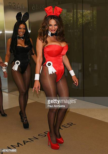 Playboy Playmate Petra Verkaik attends the Playboy's 60th Anniversary Celebration with 60 bunnies bus tour Starting at the Playboy World Headquarters...