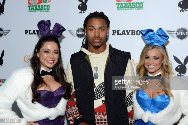 Playboy Playmate Pilar Lastra NFL Player Chad Jones and Playboy Playmate Nikki Leigh attend The Playboy Party Presented by Crown Royal on February 1...