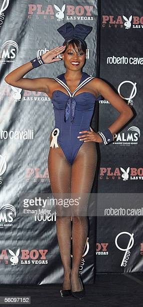 Playboy Playmate Qiana Chase wears a vintage Playboy Bunny costume during a fashion show to introduce new Playboy Bunny costumes designed by Roberto...