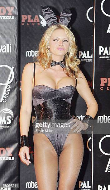 Playboy Playmate Stacy Sanches wears a Roberto Cavallidesigned Playboy Bunny costume during a fashion show to introduce the new costumes during a...