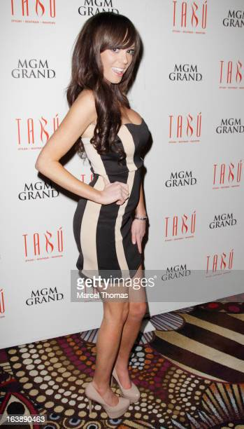 Playboy Playmate Valerie Thompson hosts a St Patrick's Day party at the Tabu Ultra Lounge at the MGM Grand Hotel/Casino on March 16 2013 in Las Vegas...