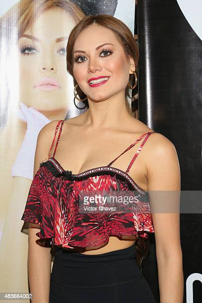 Playboy playmate Vivian Cepeda attends the Playboy Mexico magazine august 2015 issue photocall at Rustik Kitchen on August 11 2015 in Mexico City...