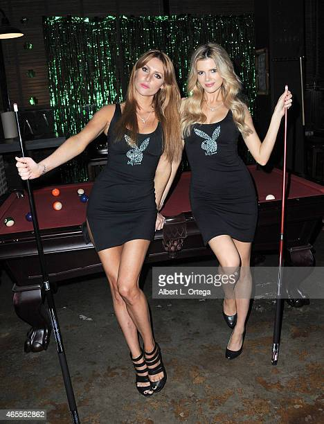 Playboy Playmates Gia Marie and Stephanie Branton at the Muck After Party held at Smithhouse Tap Grill on February 26 2015 in Los Angeles California