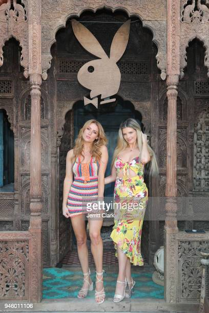 Playboy Playmates Gia Marie and Stephanie Branton Attend Magic Hour at Playboy Social Club on April 13 2018 in Palm Springs California