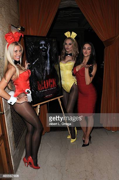Playboy Playmates Heather Rae Young Tiffany Toth and Jaclyn Swedberg at the Muck Premiere held at The Playboy Mansion on February 26 2015 in Los...