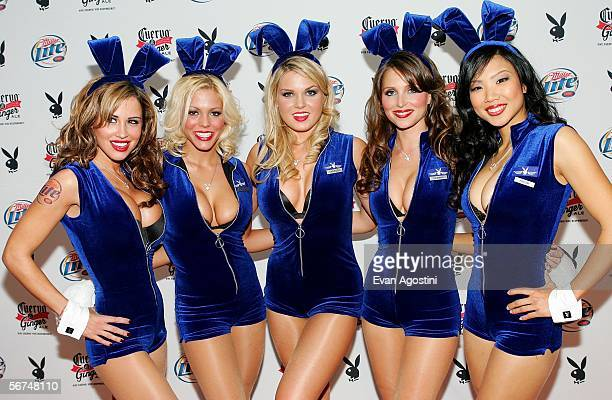 Playboy playmates Jennifer Walcott Stephanie Heinrich Vanessa Hoelsher Deanna Brooks and Hiromi Oshima pose for pictures at Playboy's 7th Annual...