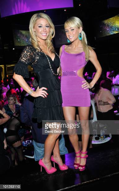 Playboy Playmates Kelly Carrington and Sara Jean Underwood pose during the Bunny Bash at the Eve nightclub at Crystals at CityCenter early May 29...