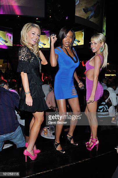 Playboy Playmates Kelly Carrington Patrice Hollis and Sara Jean Underwood pose during the Bunny Bash at the Eve nightclub at Crystals at CityCenter...