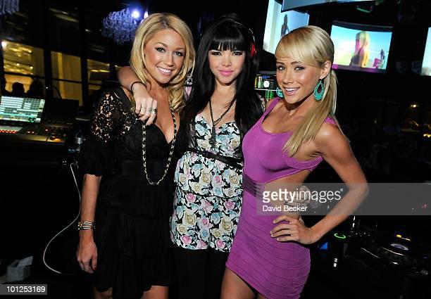 Playboy Playmates Kelly Carrington, Tamara Sky and Sara Jean Underwood pose during the Bunny Bash at the Eve nightclub at Crystals at CityCenter...