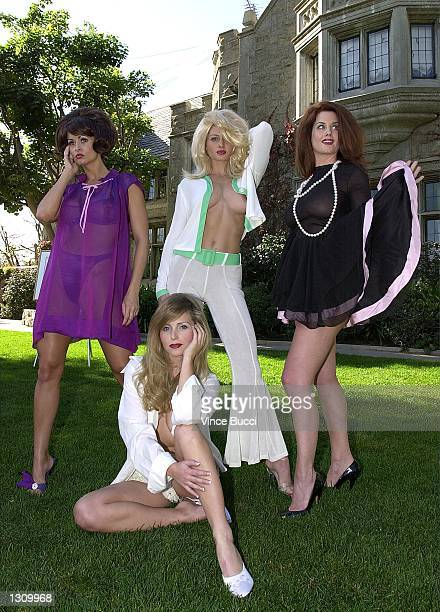 Playboy playmates left to right Karen McDougal Deanna Brooks Kalin Olson and Carrie Stevens strike poses as pinup girls similiar to watercolor...