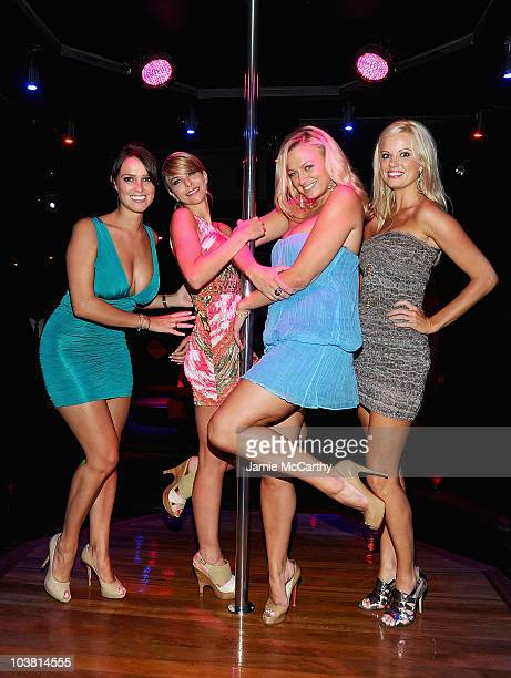 Playboy Playmates Lindsey VuoloTyran Richard Lauren Anderson and Laurie Fetter attend the grand opening of Golden Eyes on August 5 2010 in St Maarten...