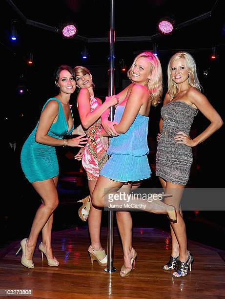 Playboy Playmates Lindsey VuoloTyren Richard Lauren Anderson and Laurie Fetter attend the grand opening of Golden Eyes on August 5 2010 in St Maarten...