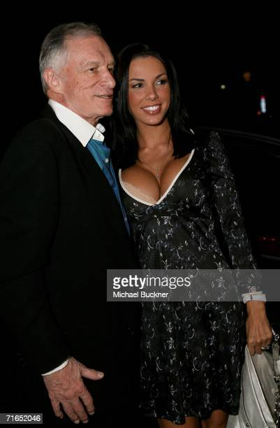 Playboy publisher Hugh Hefner and 2004 Playmate of the Year Carmella DeCesare attend Playboy and Stoli's celebration of the September cover...