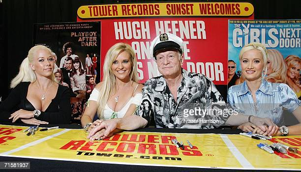 Playboy Publisher Hugh Hefner poses with Kendra Wilkinson Bridget Marquardt and Holly Madison at the 'Hugh Hefner And the Girls Next Door' DVD...