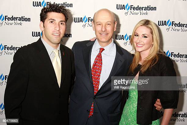 Playboy Radio's Kevin Klein Playboy Enterprises President of media Bob Meyers and Playboy Radio's Andrea Lowell attend UJAFederation of New York...