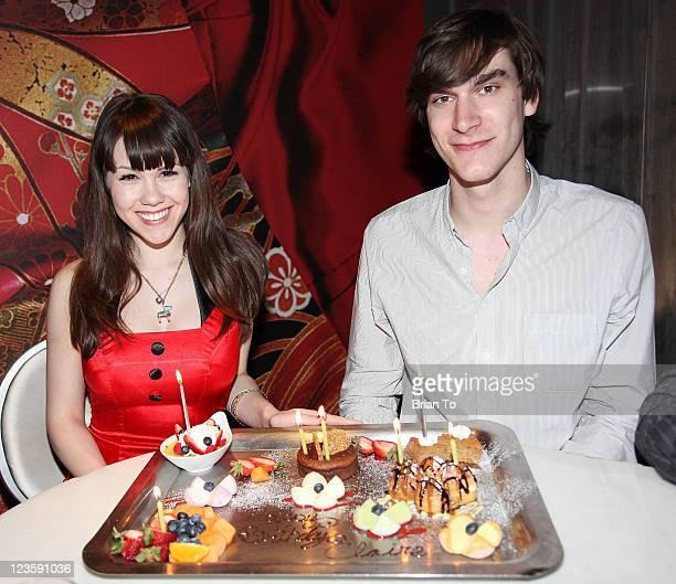 Playboy's 2011 Playmate of the Year Claire Sinclair and boyfriend Marston Hefner celebrate her 20th birthday at sbe's Katsuya Hollywood on May 25...