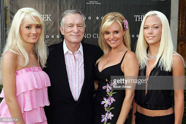 """Playboy's Hugh Hefner poses with Playmates Holly Madison , Bridgett Marquardt and Kendra Wilkinson at a special screening of Dennis Hopper's """"The..."""