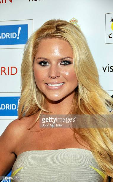Playboy's Miss March 2011 Ashley Mattingly attends the Three Time World Club Champions Real Madrid CF Meet & Greet Reception at the SLS Hotel on July...