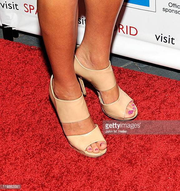 Playboy's Miss March 2011 Ashley Mattingly wears Jimmy Choo Heels at the Three Time World Club Champions Real Madrid CF Meet & Greet Reception at the...