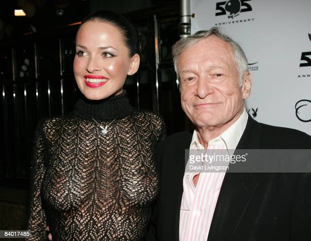 Playboy's Playmate of the Month for January 2009 Dasha Astafieva and Hugh Hefner attend the magazine's 55th anniversary playmate celebration at ONE...