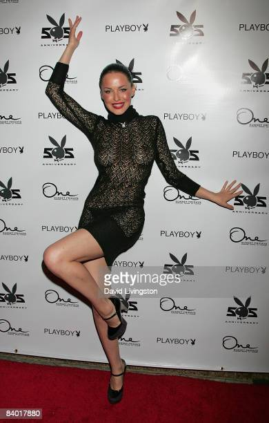 Playboy's Playmate of the Month for January 2009 Dasha Astafieva attends the magazine's 55th anniversary playmate celebration at ONE Sunset on...