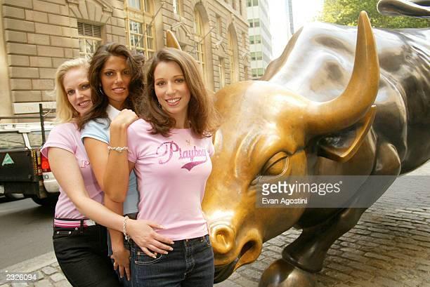 Playboy's Women of Enron near the Wall Street Bull in the financial district LR Christine Nielsen Carey Lorenzo and Cynthia Coghlan New York City...