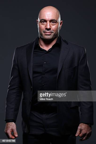 UFC playbyplay broadcaster Joe Rogan poses for a portrait backstage during the UFC Fight Night event at the TD Garden on January 18 2015 in Boston...
