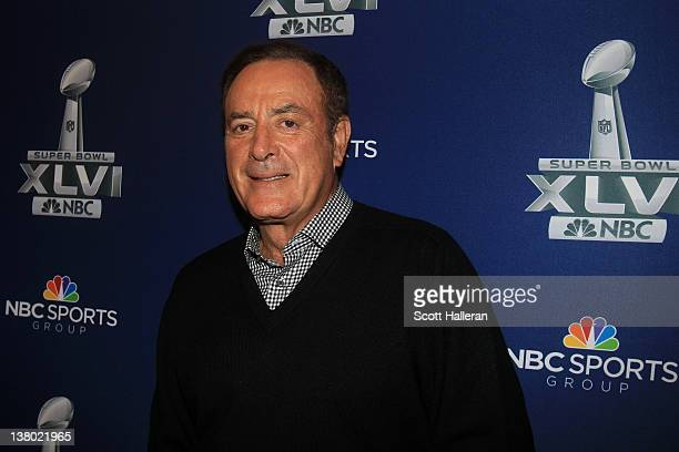 Playbyplay commentator Al Michaels looks on during the Super Bowl XLVI Broadcasters Press Conference at the Super Bowl XLVI Media Canter in the JW...