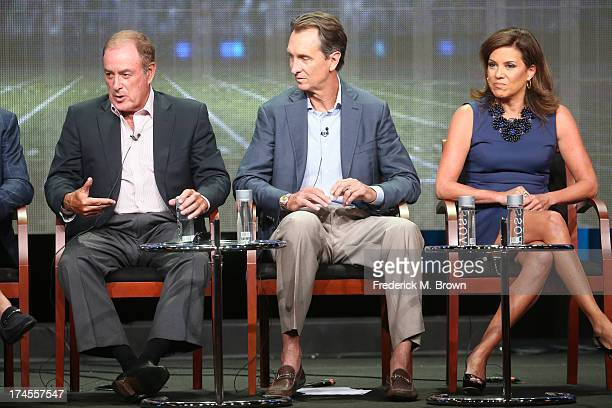 PlaybyPlay Sportscaster Al Michaels Analyst Sportscaster Cris Collinsworth and Sideline Reporter Michele Tafoya speak onstage during the Sunday Night...