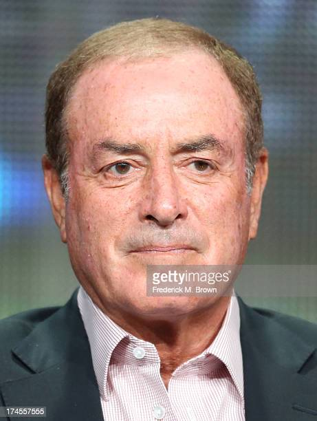 PlaybyPlay Sportscaster Al Michaels speaks onstage during the 'Sunday Night Football' panel discussion at the NBC portion of the 2013 Summer...