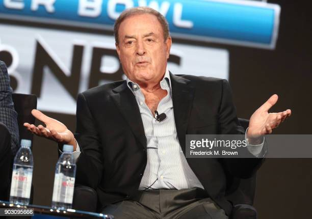 PlaybyPlay 'Sunday Night Football' Super Bowl LII Al Michaels speaks onstage during the NBCUniversal portion of the 2018 Winter Television Critics...