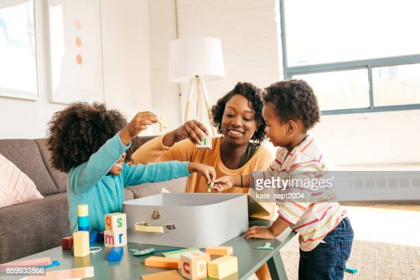 playdate for toddlers - nanny stock photos and pictures