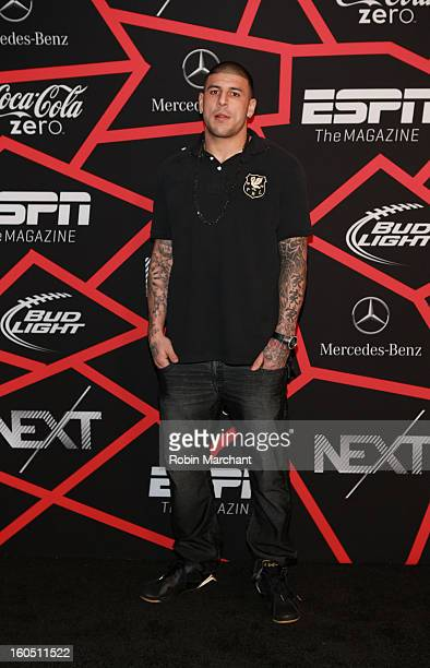 Player Aaron Hernandez attends ESPN The Magazine's 'NEXT' Event at Tad Gormley Stadium on February 1 2013 in New Orleans Louisiana