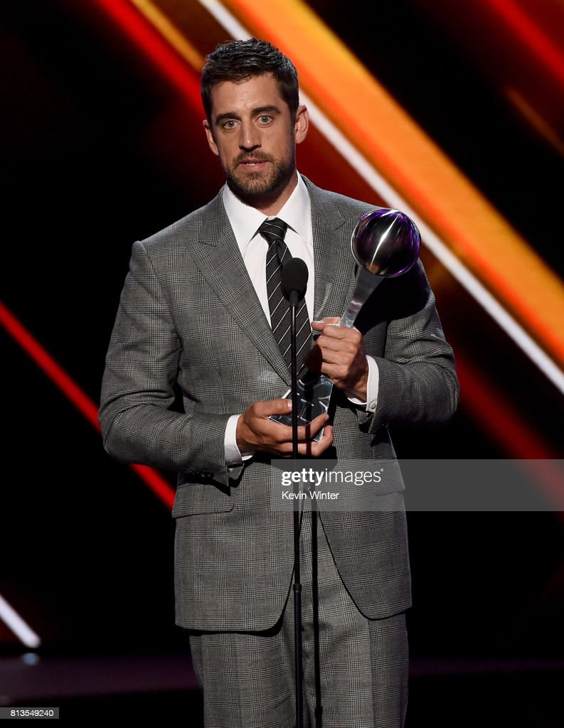 NFL player Aaron Rodgers accepts the Best Play award onstage at The 2017 ESPYS at Microsoft Theater on July 12, 2017 in Los Angeles, California.